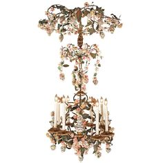 gorgeous, fun garden~room piece... Italian 19th Century Gilt Iron + painted Porcelain flowers, vines, Eight Light Chandelier... Italy
