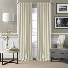 Set of rod pocket textured solid window curtain drape panel will enhance your windows and any living space. A sleek, solid-weave textured fabric offers modernized simplicity with a rod No Sew Curtains, Rod Pocket Curtains, Thermal Curtains, Grommet Curtains, Linen Curtains, Window Curtains, Cream Curtains, Bedroom Curtains, Houses