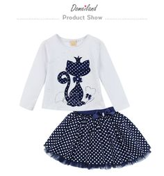 2017 Fashion Spring DOMEILAND Boutique Outfits Baby clothes Girls Sets Cute cat Print Long Sleeve Tops Bow Tutu Skirts suits - Kid Shop Global - Kids & Baby Shop Online - baby & kids clothing, toys for baby & kid Little Girl Dresses, Girls Dresses, Baby Outfits, Kids Outfits, Tutu Outfits, Wedding Outfits, Toddler Outfits, Winter Outfits, Tutu Rock