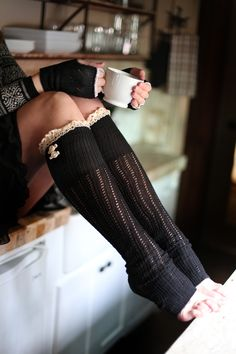 black lace boot socks