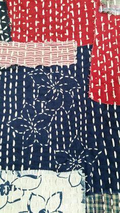 Japanese Sashiko stitched Boro Vest idée motifs doublure qui se retrouvent en points contrastés sur l'endroit