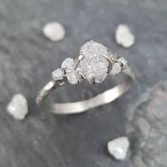 Raw Rough conflict free diamonds in recycled white gold #rawgem #sayyes #ido