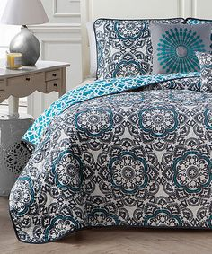 Loving this Blue Lola Five-Piece Reversible Quilt Set on #zulily! #zulilyfinds