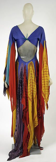 Dress (back), by Giorgio di Sant'Angelo, American 1971 vintage fashion style unique handkerchief dress open pack long boho hippie gown red yellow blue purple silk