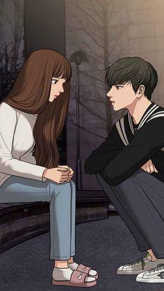 Cute Couple Cartoon, Cute Love Cartoons, Cute Couple Art, Anime Love Couple, Anime Couples, Cute Couples, Anime Brown Hair, Cute Anime Coupes, Webtoon Comics