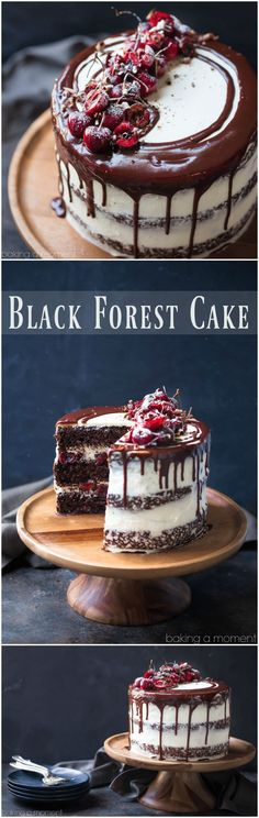 Black Forest Cake: moist chocolate cake layered with sweet cherries and whipped cream. So luscious! food desserts chocolate via @bakingamoment