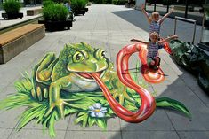 "3D Streetpainting Title: ""Eating Frog"" Artist: Remko van Schaik...would love to see a collaboration with Leon Keer"