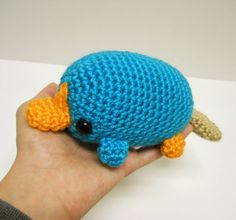 Big Perry the Platypus 2 1/2 inches tall and 6 1/2 inches across from bill to tail Hand crocheted from my own original pattern. Made to order, production time is about 2-3 weeks before shipping.