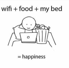 Anime + Wi-Fi + food + my bed = happiness - the true equation to Otaku happiness Me Anime, Anime Life, Otaku Anime, Stupid Funny Memes, Funny Relatable Memes, Funny Texts, Hilarious, Mood Quotes, True Quotes