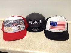 Custom embroidered and heat pressed hats