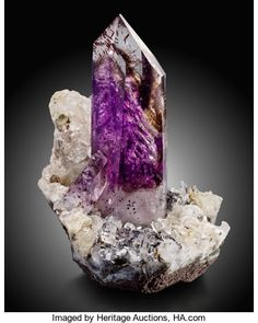 Minerals:Crystals, AMETHYST SMOKEY QUARTZ ON CALCITE WITH LEPIDOCROCITE INCLUSIONS....