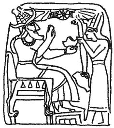 El, seated on a throne with lion feet, wears conical horned headdress, a tunic and mantle. He receives gifts from a priest or king or lesser deity. The winged globe is above them in the background. Stela found in Palestine.