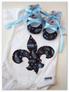 Fleur de Lis Baby Onesie Set by TeahouseMouse on Etsy, $22.00