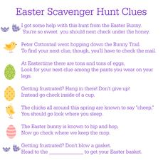 "We usually do an egg hunt at Easter (and yes, we find usually find an errant egg around Flag Day, which is why we stick with plastic). This year, though, I'm going to have my tween do a scavenger hunt for her Easter basket. You can structure your hunt any number of ways, be it... <a href=""http://www.chicagonow.com/tween-us/2014/04/printable-easter-scavenger-hunt-clues/"" class=""more-link"">Read more »</a>"