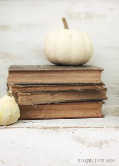 Stacked books decor dressed for fall decor ideas Thoughts from Alice: Rustic Fall Table & Dining Room