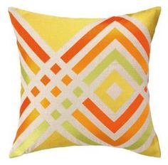 Trina Turk Los Olivos Embroidered Pillow in Yellow. Product in photo is from www.wellappointedhouse.com