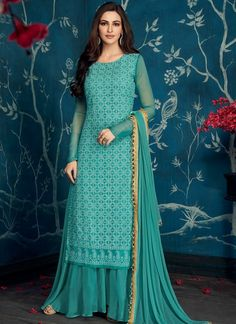 Buy from the latest range of designer collection of salwar kameez. Buy this faux georgette designer palazzo salwar suit for festival, mehndi and party. Party Wear Indian Dresses, Pakistani Fashion Party Wear, Dress Indian Style, Indian Fashion Dresses, Pakistani Dress Design, Pakistani Dresses, Indian Outfits, Long Dress Design, Stylish Dress Designs