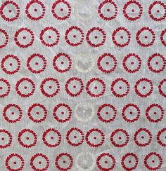 Celina Mancurti - red + white circle linen hand-screen printed fabric - Contemporary Cloth Store