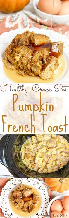 Healthy Crock Pot Pumpkin French Toast casserole recipe.  Cooks overnight in the slow cooker.  A great make ahead breakfast or brunch for Thanksgiving or Christmas morning.  Easy, simple and packed with spices and healthy twists like whole wheat bread and coconut sugar!  Top with your favorite maple syrup. / Running in a Skirt