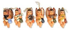 Ceramic ornaments, 'Angelic Andean Choir' (set of 6) by NOVICA. Margarita and Martha