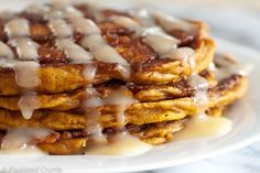 Be still my heart, Pumpkin Cinnamon Roll Pancakes!  Simply sub #gfree bisquick or #glutenfree AP flour for flour.  YUM!