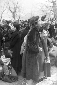Fani Haim is bidding goodby to her family members who are are being deported to Auschwitz-Birkenau extermination camp through Larissa city. Fani survived Auschwitz-Birkenau. Ioannina, Greece, March 24, 1944