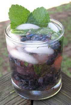 {Blue Ginny} Muddled Mint & Blueberries, St. Germain, Gin, & Soda Water