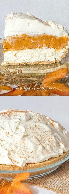 No Bake Triple Layer Pumpkin Pie Pumpkin Pies, Cream Cheese Pumpkin Pie, Cream Cheese Pie, Cream Cheese Recipes, Cream Pies, Baked Pumpkin, Pumpkin Dessert, Pie Dessert, Pumpkin Trifle