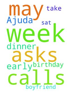 Ajuda -  Pray that my boyfriend calls me early this week and asks to take me out to dinner on my birthday Sat. May 13.  Posted at: https://prayerrequest.com/t/EIh #pray #prayer #request #prayerrequest
