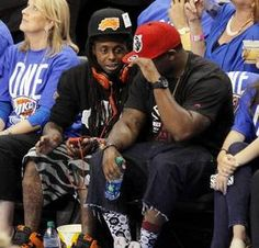 NBA Finals: No sympathy from Thunder fans after Lil Wayne tweet    BY JULIANA KEEPING and PHIL O'CONNOR       Rapper Lil Wayne sits courtside during Game 1 of the NBA Finals in Oklahoma City June 12, 2012. Photo by Nate Billings