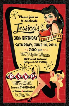 Pin-Up Girl Rockabilly Birthday Invitation - Click Image to Close Diner Party, Retro Party, Tiki Party, Festa Pin Up, Retro Bridal Showers, Pin Up Party, 30th Birthday Parties, Birthday Ideas, 50th Party