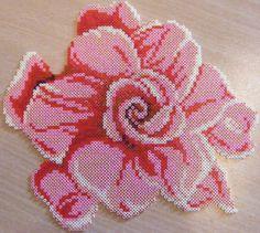 Rose flower hama perler beads by ki-vi, Perler Bead Designs, Hama Beads Design, Pearler Bead Patterns, Perler Patterns, Perler Beads, Perler Bead Art, Fuse Beads, Flower Patterns, Beading Patterns