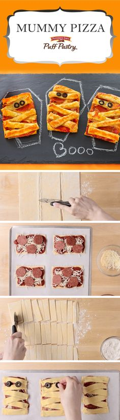Pepperidge Farm Puff Pastry Mummy Pizza Puffs Recipe. This wickedly easy recipe will have your little monsters cheering. Perfect for Halloween night before trick-or-treating or serve as a spooky appetizer at your costume party. Kids will love to pick their favorite pizza toppings and build their mummies with strips of Puff Pastry. (Party tip: Use chalk and slate serving platters to set the scary scene!)