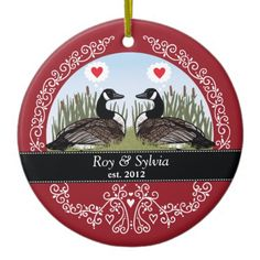 Personalized 40th Wedding Anniversary, Geese Ceramic Ornament