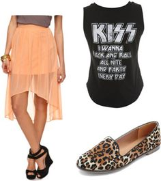 How to wear a sheer high-low peach skirt with a band tee and leopard loafers