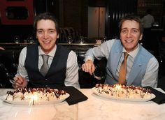 James and Oliver Phelps with Red Velvet Ice Cream Sundaes at Sugar Factory American Brasserie at Paris Las Vegas
