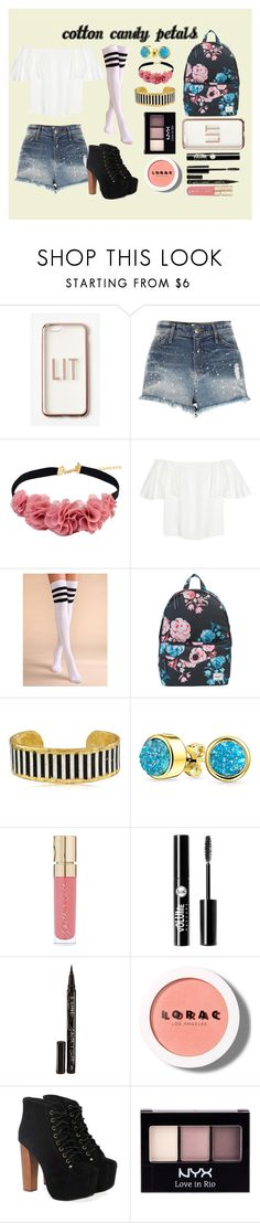 """Cotton Candy Petals"" by fiora-re ❤ liked on Polyvore featuring Missguided, River Island, Valentino, Herschel Supply Co., Évocateur, Bling Jewelry, Smith & Cult, Charlotte Russe, LORAC and Jeffrey Campbell"