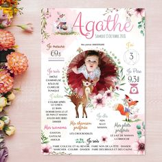 Beautiful personalized birthday poster on the theme drill and doe printed on high-end paper. By Omade - diydeco Mermaid Birthday, 21st Birthday, Birthday Cards, First Birthday Posters, Baby Event, Personalized Posters, Deer Print, Tropical Party, Decorate Your Room