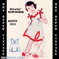 Vintage Sewing Pattern 1930's Girls' Dress and Applique Any Size Depew 1815 Draft at Home Pattern -INSTANT DOWNLOAD- by Mrsdepew on Etsy https://www.etsy.com/listing/129638864/vintage-sewing-pattern-1930s-girls-dress