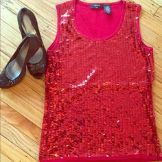 Beautiful tank top! Like new! Beautiful red tank top with unique sequins. Polyester & rayon, machine washable. Listing is for top only. Sorry, no trades Tops Tank Tops