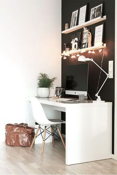 Check Out 25 Chic Scandinavian Home Office Designs. Scandinavian design is extremely popular now, so why not choose this style for your home office decor? Home Office Space, Office Workspace, Home Office Design, Home Office Decor, House Design, Office Ideas, Small Office, Office Designs, Office Spaces