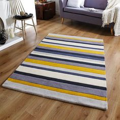 Jazz Stripes Wool Rugs in Yellow