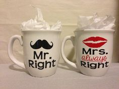 Mr Right  Mrs Always Right Coffee Mug Set on Etsy, $22.00