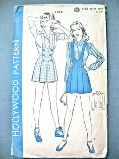 1940s Hollywood 1358 Vintage Sewing Pattern Bust 30 inches  Hip 33  See photos for metric conversion chart.    Bib-top and suspenders in one with