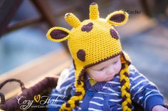 Jeffrey the Giraffe Hat MADE to ORDER in ALL Sizes by CozyHat