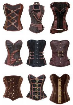 Types of steampunk style corsets. I bought my first one at the Lincoln festival of steampunk and I can't wait to get dressed up for next year! Viktorianischer Steampunk, Costume Steampunk, Steampunk Clothing, Steampunk Lingerie, Gypsy Clothing, Renaissance Clothing, Steampunk Necklace, Steampunk Outfits, Plus Size Steampunk