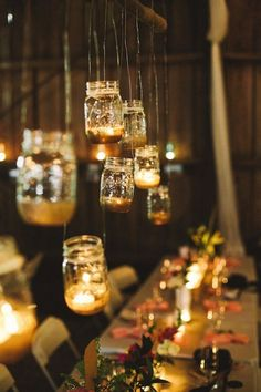 Lights in Mason Jars Wedding Ideas