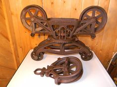 Antique Hudson Hay Trolley Carrier Barn Rustic Decor with Drop Pulley Pat'd 1928