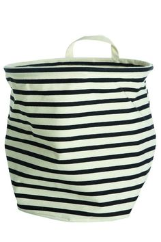 Storage bag by Danish House Doctor. Danish homewares, bathroom products, kitchenware & gifts available online from Perch Home NZ. House Doctor, Black And White Tops, Black White Stripes, Storage Baskets, Bag Storage, Textiles, Kidsroom, Home Decor Kitchen, Home Accessories