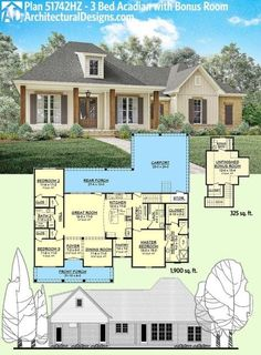 Architectural Designs Acadian House Plan 51742HZ gives you 1,900 square feet on the main floor and a bonus room giving you a 4th bedroom and 352 square feet over the garage. Ready when you are. Where do YOU want to build? by maryanne